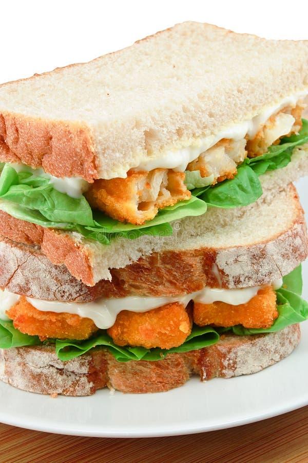 Détail de sandwich à bâton de poisson photographie stock libre de droits