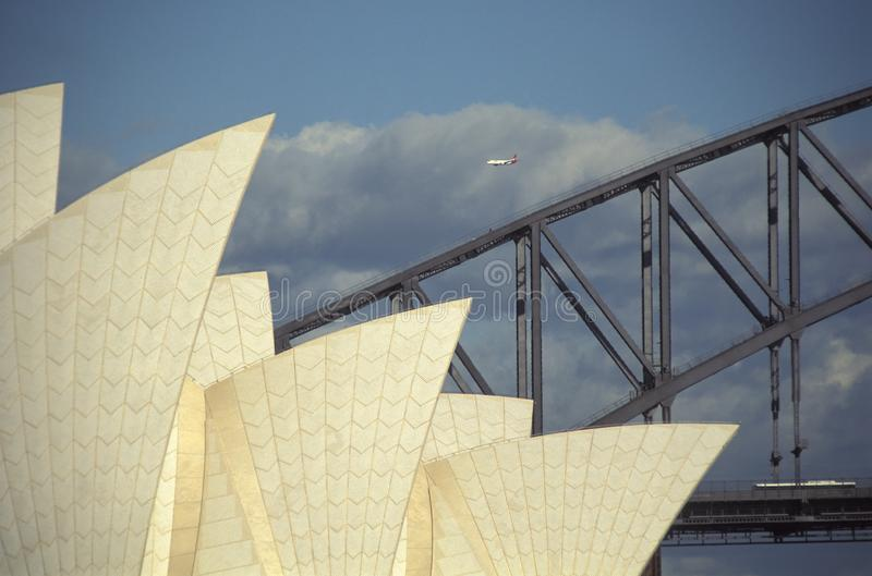 Détail de théatre de Sydney Bridge et de l'opéra photos stock