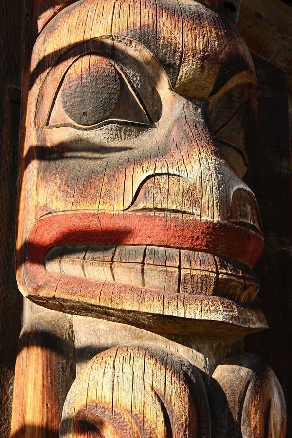 Détail de totem Polonais, village indigène de San de ` de K, Hazelton, Colombie-Britannique de Gitsan images libres de droits