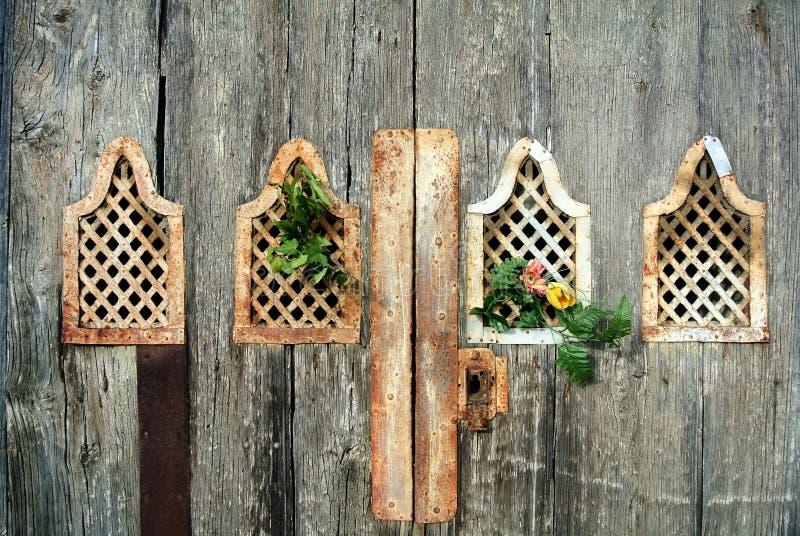 Détail de trappe en bois antique photos stock