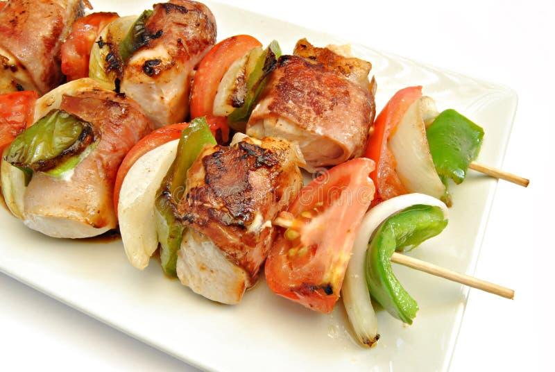 Détail de viande et des légumes de brochette photos stock