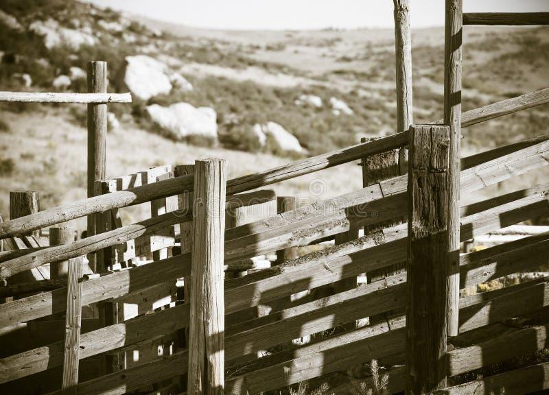 Détail de vieux descendeur Amérique rurale (antiquité) de bétail en bois et en métal image libre de droits