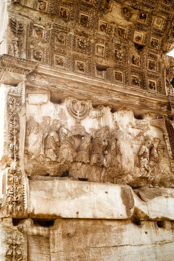 Détail de voûte triomphale de Titus, Rome image stock