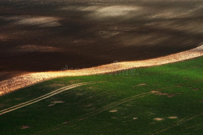 Détail des champs verts avec de belles collines rayées Spring Valley coloré dans la région du sud de la Moravie, République Tchèq photographie stock