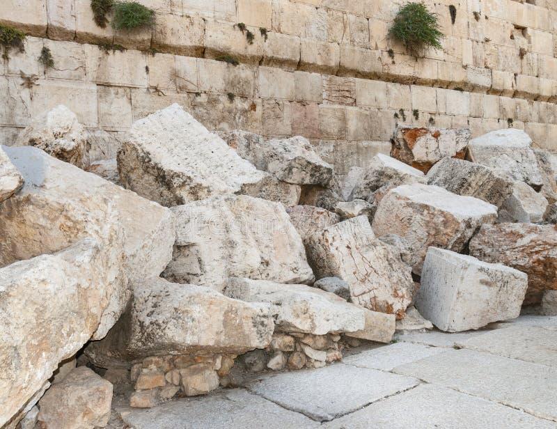 Détail des deuxièmes ruines de temple à Jérusalem photos stock