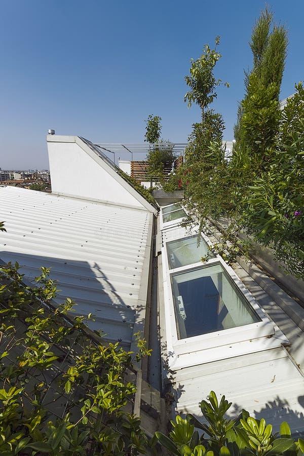 Détail des lucarnes sur les toits photographie stock libre de droits