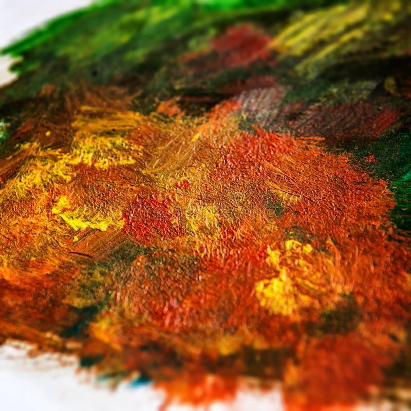Détail des peintures acryliques dans des tons et des couleurs terreux de chute illustration stock