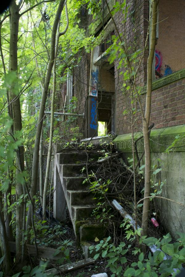 Détail du bâtiment historique de la serrure 19 sur la rivière Ohio image stock