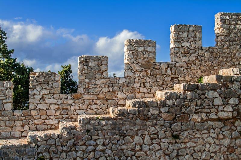Détail du château de Sesimbra photo stock