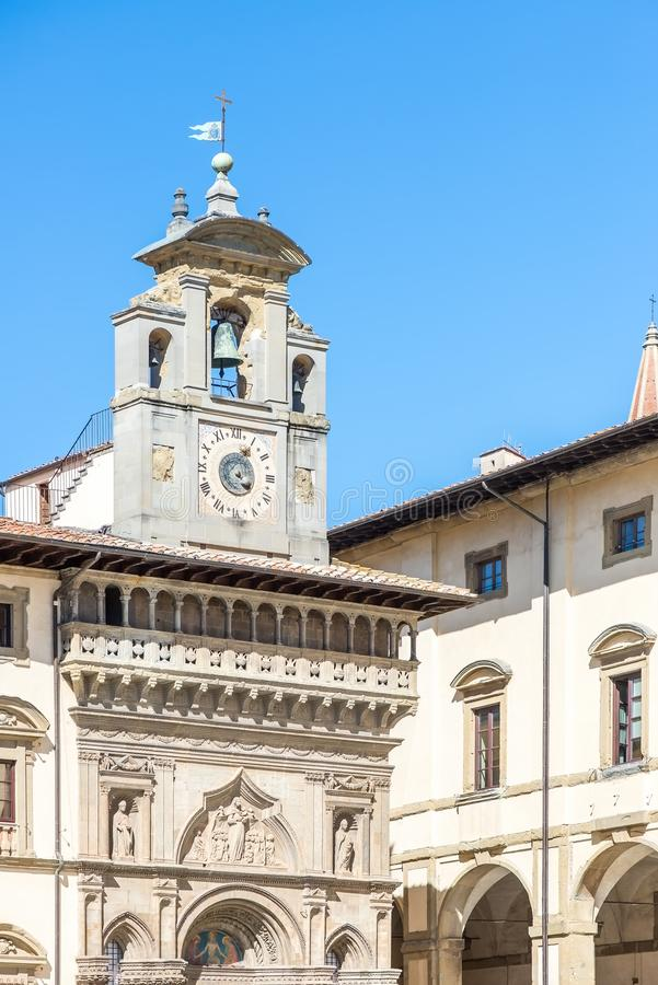 Détail du dei Laici de Fraternita de della de Palazzo d'Arezzo, Italie photo libre de droits