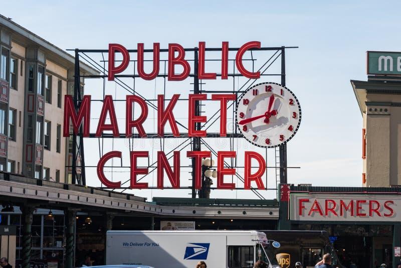 Détail du signe caractéristique du marché de Pike de Seattle photo libre de droits