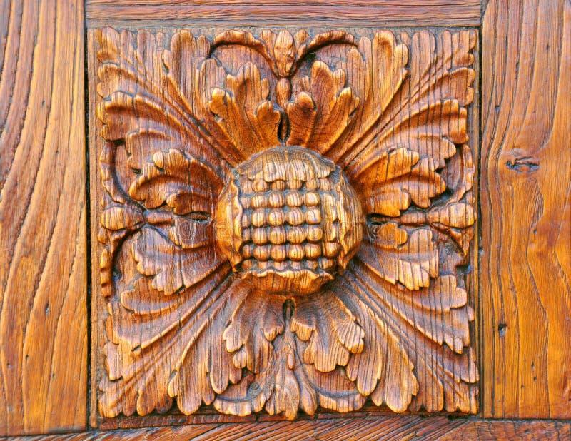 Détail en bois de trappe à Florence, Italie photos stock