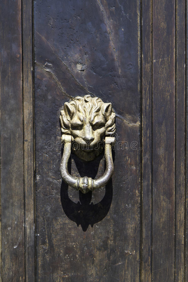 Détail en bronze antique de heurtoir de porte de porte en bois photographie stock libre de droits