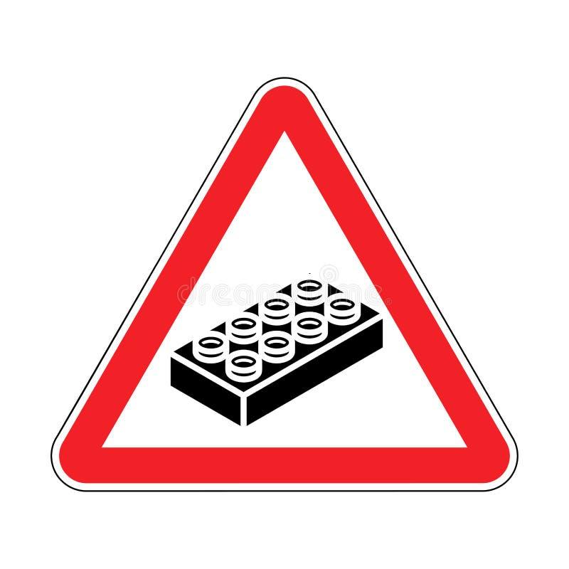 D?tail en plastique de construction d'attention sur le plancher Panneau routier rouge de avertissement : illustration libre de droits