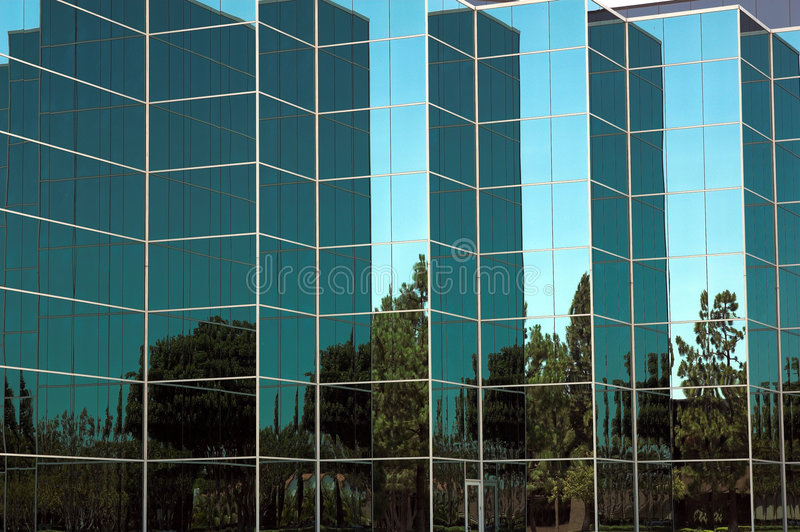 Détail en verre bleu de bureau photographie stock libre de droits