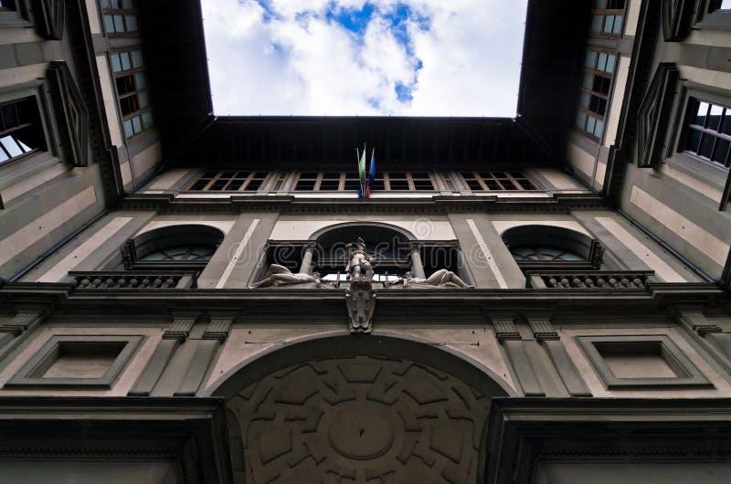Détail extérieur de bâtiment de galerie Uffizi, Florence, Toscane images stock