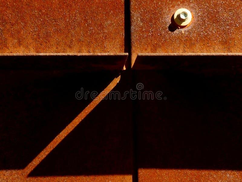 Détail extérieur rouillé âgé de plaque d'acier images stock