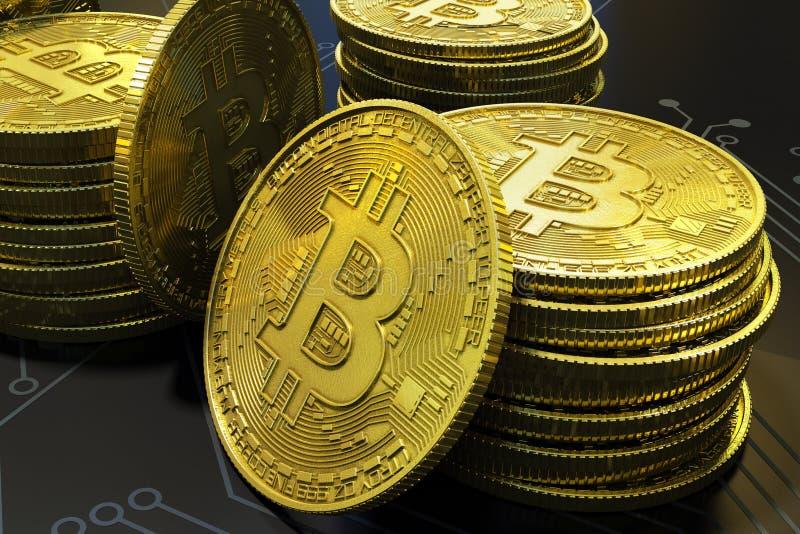 Détail virtuel d'argent de Bitcoin d'or sur la carte photographie stock