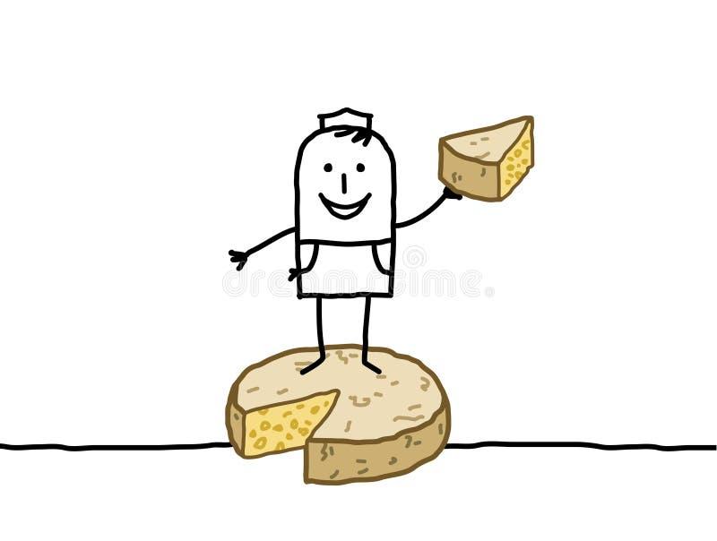 Détaillant et fromage illustration stock