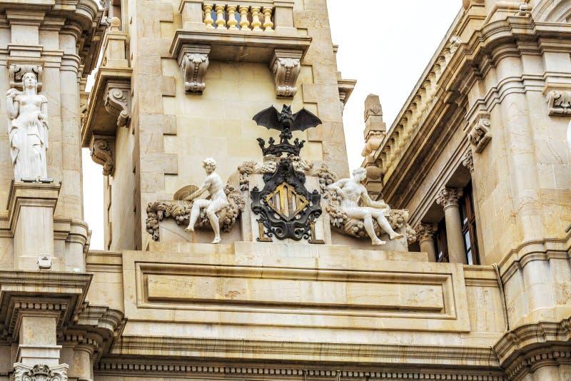 Détaillez oh la ville Hall Building à Valence, Espagne image libre de droits