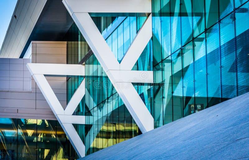 Détails architecturaux de Convention Center à Baltimore, mars images stock