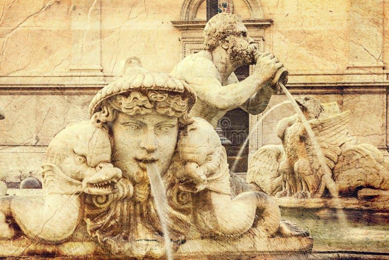 Détails architecturaux de la fontaine d'amarrage. Rome. image libre de droits