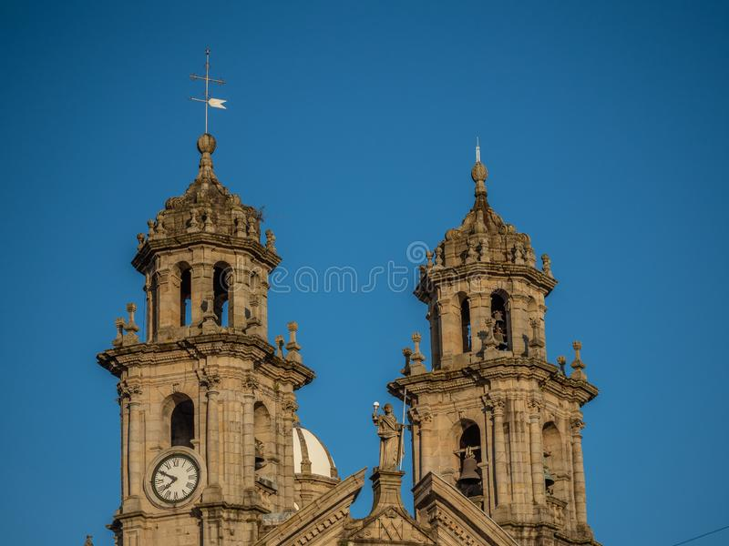 Détails architecturaux du centre historique de Pontevedra La Galicie, Espagne images libres de droits