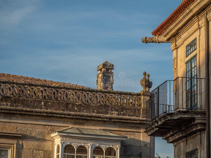 Détails architecturaux du centre historique de Pontevedra La Galicie, Espagne photographie stock