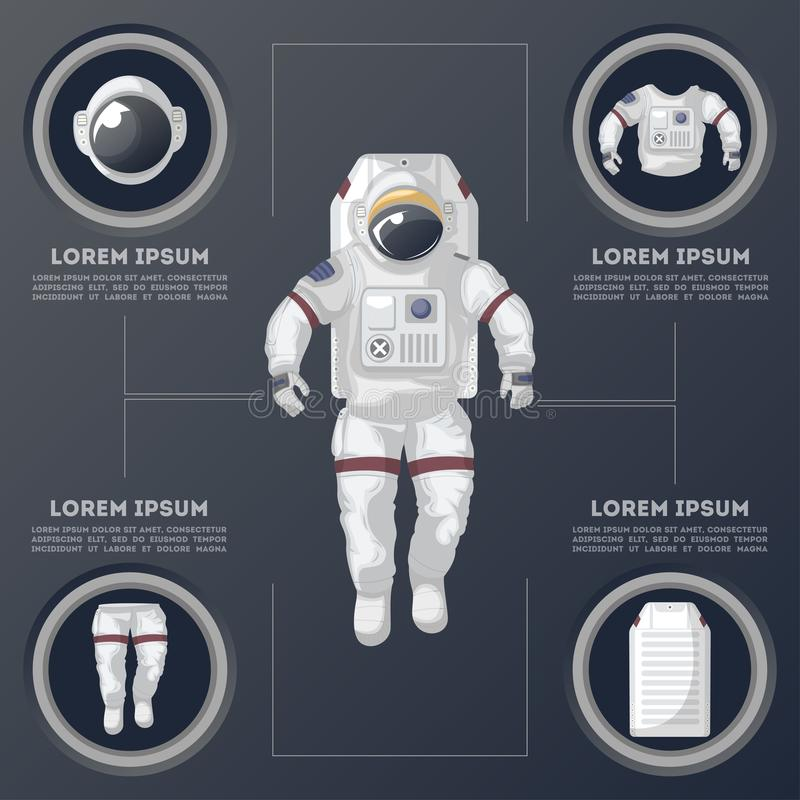 Détails d'infographics moderne de costume d'espace illustration stock