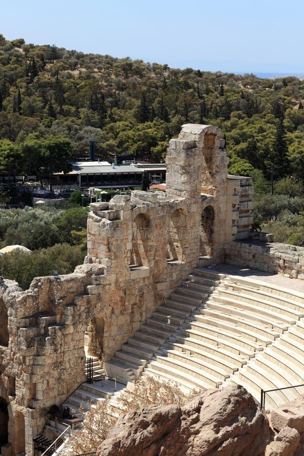 Détails d'Odeon antique d'Atticus de Herodes photographie stock libre de droits