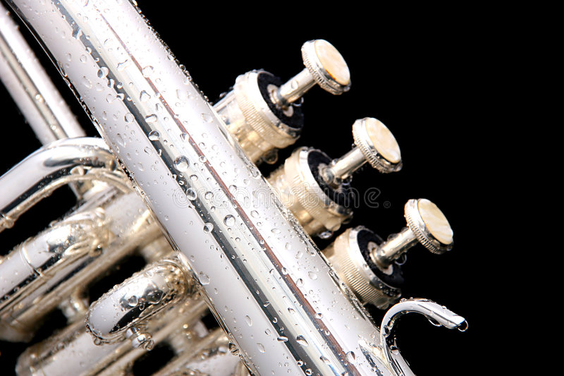 Détails d'un fluegelhorn argenté photographie stock libre de droits