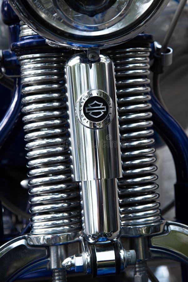 Détails d'un Harley Davidson chrome metal Engine photographie stock