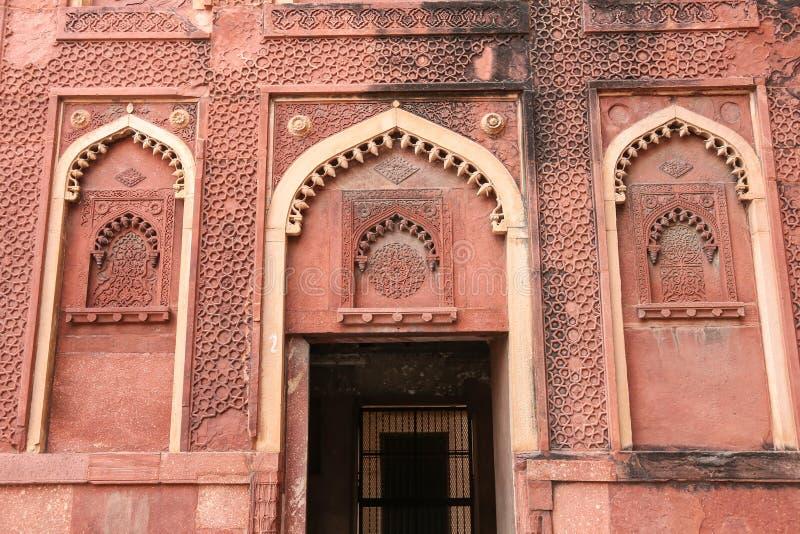 Détails d'un palais, fort d'Âgrâ, Inde images stock