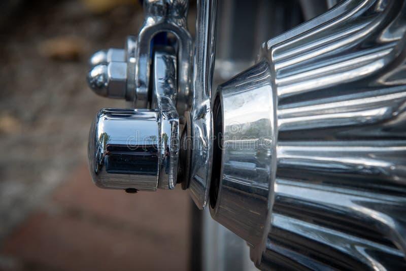 Détails d'une roue chromée Harley Davidson photographie stock