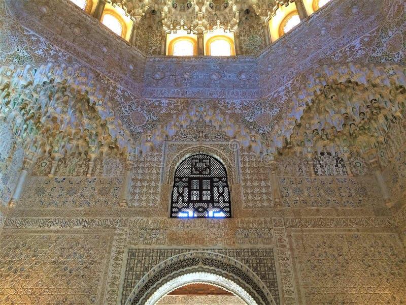Détails de décor - Alhambra Palace, Grenade, Espagne photo stock