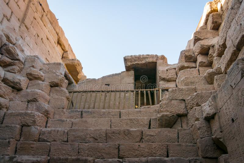 Détails de l'intérieur du temple d'Edfu ?gypte image libre de droits