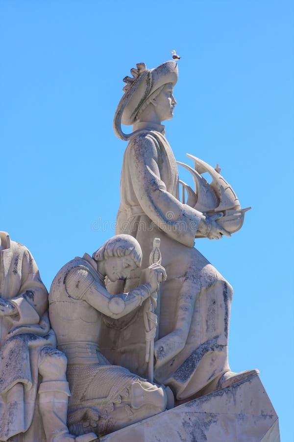 Détails de monument aux découvertes à la banque du nord de l'estuaire du Tage à Lisbonne photo libre de droits