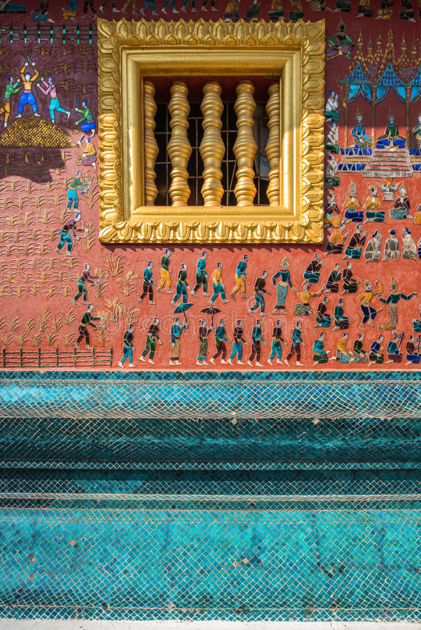 Détails de mur de lanière de Wat Xieng, Luang Prabang photographie stock libre de droits