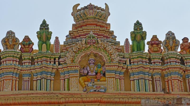 Détails de Saraswati sur le temple de Taureau à Bangalore photographie stock