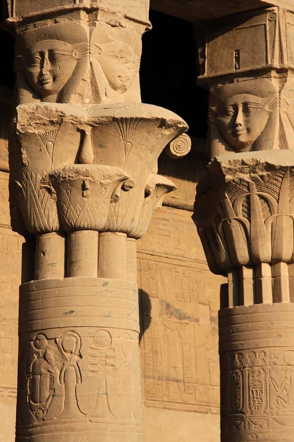 Détails de temple de Philae photographie stock libre de droits