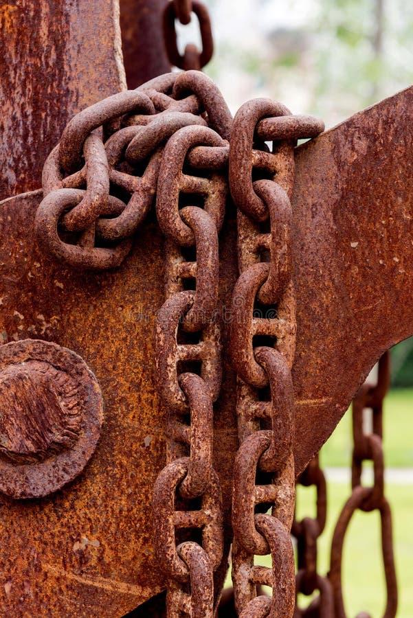 Détails des chaînes rouillées image libre de droits