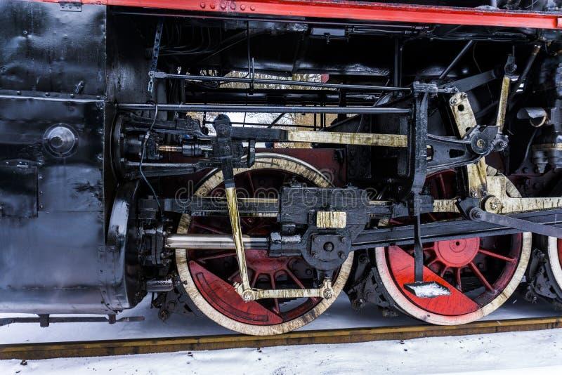 Détails des roues de locomotive à vapeur photo stock