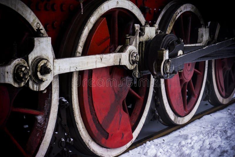 Détails des roues de locomotive à vapeur photographie stock