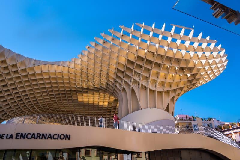 Détails du parasol de Metropol, soies De Séville, la plus grande structure en bois dans le monde images stock