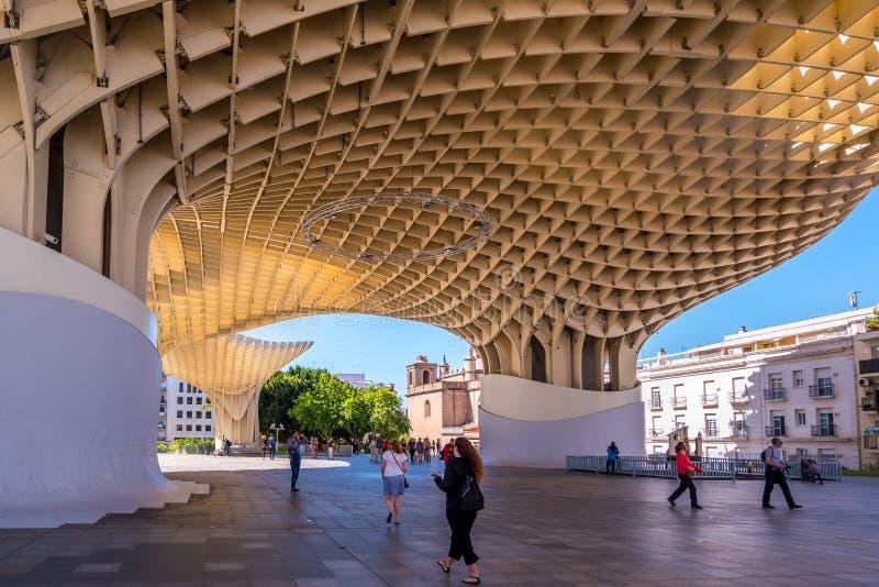 Détails du parasol de Metropol, soies De Séville, la plus grande structure en bois dans le monde photos libres de droits