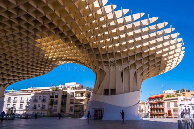 Détails du parasol de Metropol, soies De Séville, la plus grande structure en bois dans le monde photos stock