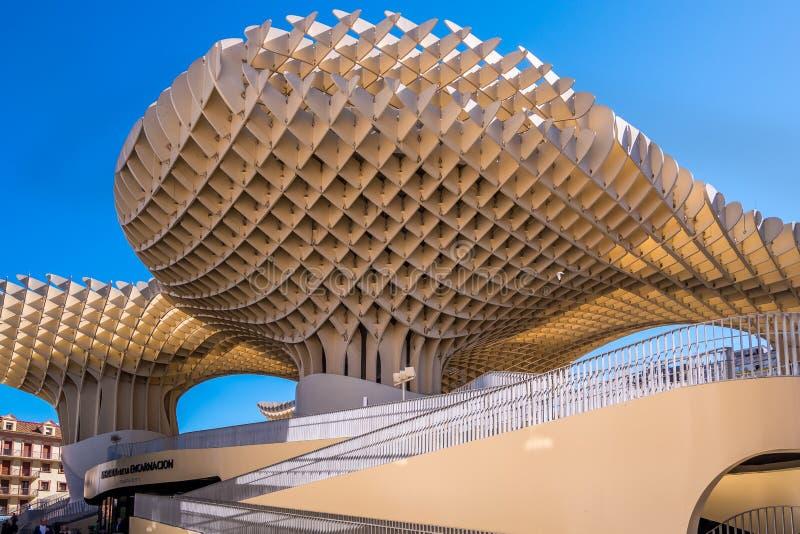 Détails du parasol de Metropol, soies De Séville, la plus grande structure en bois dans le monde photographie stock