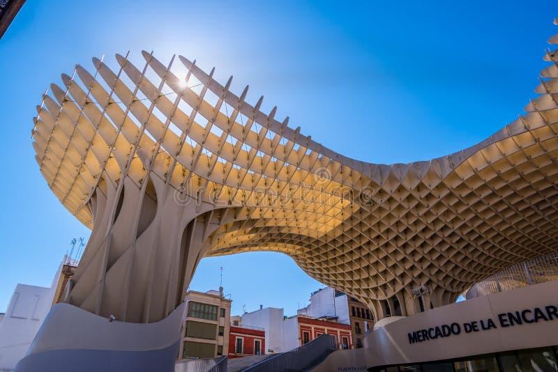 Détails du parasol de Metropol, soies De Séville, la plus grande structure en bois dans le monde photo libre de droits