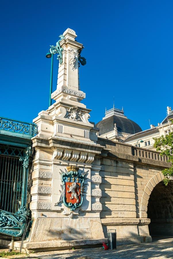 Détails du pont d'université à travers le Rhône à Lyon, France photographie stock libre de droits