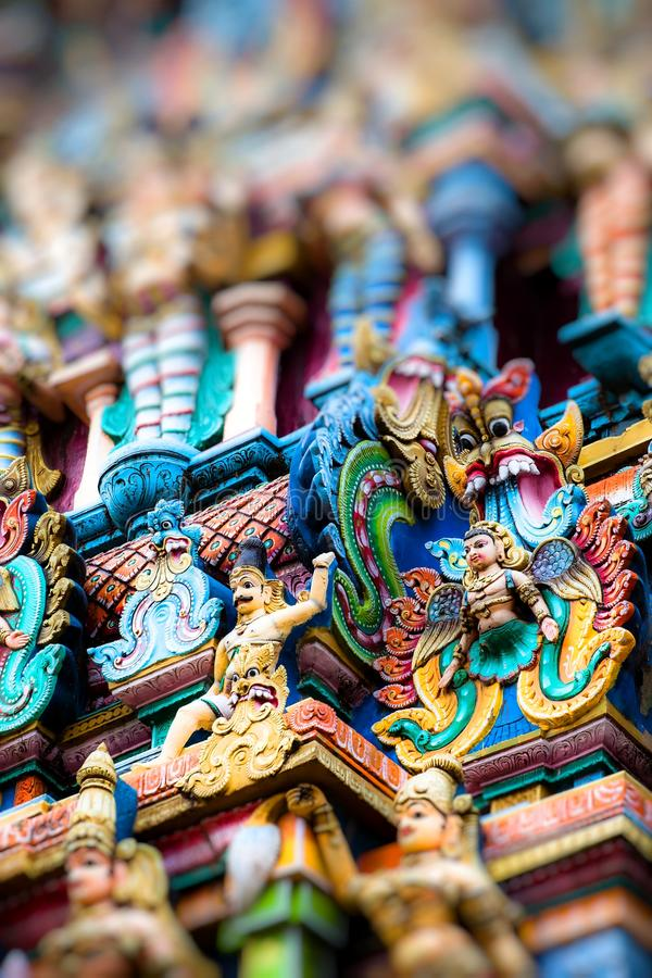 Détails du temple de Meenakshi - un du plus grand et le plus ancien temple à Madurai, Inde images libres de droits